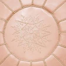 Light Pink Moroccan Pouf Leather Handmade