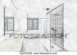 skizze a gekachelt badezimmer und dusche stock