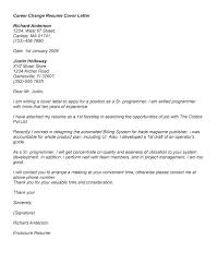Cover Letter Examples Changing Careers