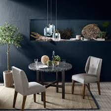 Shop INK+IVY Mosaic Grey Blue/ Gunmetal Round Dining Table - Blue ... Brynwood White 5 Pc Round Ding Set With Blue Chairs Room Carmilla Damask Chair Espresso Wood Decor Black Contemporary With Wooden Table And Perfect Navy House Seven Design Build Shop Hanover Traditions 5piece In 4 And Farmhouse Fniture Skagen Round Table Oak Gripsholm Chair Entrancing New Roll Squire Parsons Slipcover Rectangle Brown Legs Combined Excerpt Shabby In A Range Of Styles Ireland Dfs Ideas Ikea