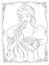 Barbie Princess Free Coloring Pages Braiding Her Hair Page Mermaid Print Games Full Size
