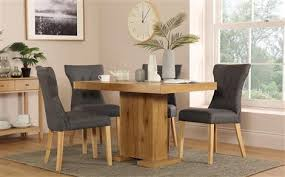 Chilton 120cm Oak Dining Table With 4 Bewley Slate Chairs