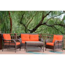 Conversation Sets Patio Furniture by Jeco 4 Piece Resin Wicker Patio Conversation Set Green Cushion