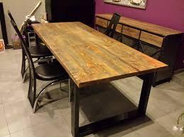 table de salle à manger style industriel acier et bois mahaia