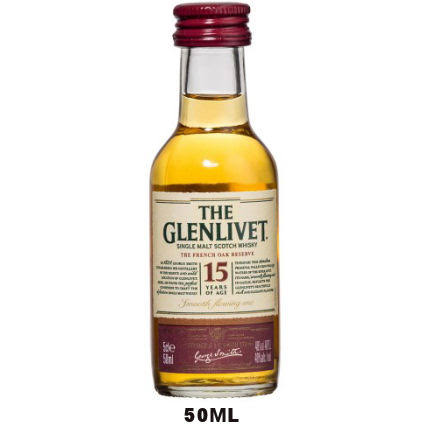 50ml Mini The Glenlivet 15 Year Old French Oak Speyside Single Malt Scotch Rated 91WE