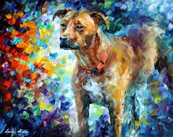 DOG 3 — Palette knife Oil Painting on Canvas by Leonid Afremov