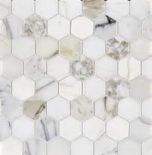 Faux Marble Hexagon Floor Tile by Calacatta Oro Polished Marble Hexagon Mosaics Stone Concepts