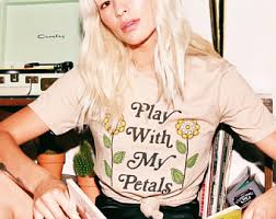 Play With My Petals 70s Vintage Womens Graphic T Shirt