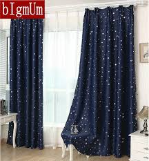Summer StyleFashion Window Curtains Solid Finished Products Blackout For Dining Room Kitchen Stars Navy