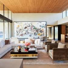 Large Minimalist Open Concept Limestone Floor And Beige Living Room Photo In Other With A