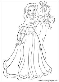 Coloring Pages Princess Christmas Printable Disney Colouring