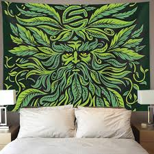 HOMESTORES Cannabis Leaf Green Weed Marijuana Wall Tapestry Hippie Art Tapestry Wall Hanging Home Decor Extra Large Tablecloths 60x90 Inches For