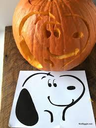 Snoopy Pumpkin Carving Kit by The Peanuts Plus Pumpkin Stencil Nobiggie