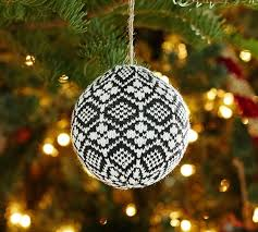 Black Fair Isle Ball Ornament Pottery Barn