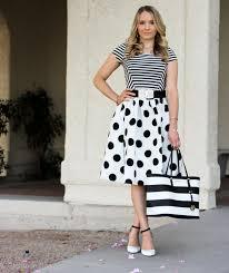 black and white polka dot skirt and striped shirt glamour zine