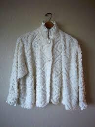 chenille bed jacket house jacket ivory vintage chenille