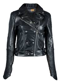 quilted channel stripes womens black biker leather jacket at