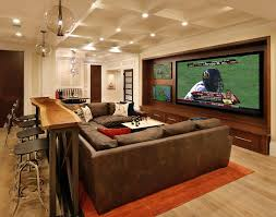 Decorate Around Flat Screen Tv Home Theater Traditional With Brown Sectional Built In Media Console