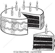 Birthday Cake Sketch Vector