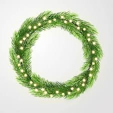 Green Wreath With Lights And Christmas Tree Branches Vector Template Space For Text