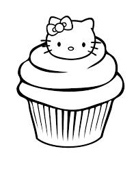 Hello Kitty Cupcake Coloring Page Pages