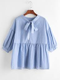 vertical striped bow tie neck peplum blouse blouse online and