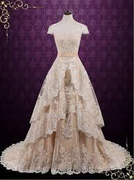 Vintage Lace Wedding Dress With Tiered Skirt