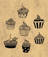 I drawn this cupcakes for my recipe book I like cooking and drawing cupcakes