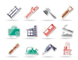 Download Woodworking Industry And Tools Icons Stock Vector