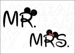 Mr And Mrs With Mickey Minnie Ears INSTANT DOWNLOAD Digital Clip Art