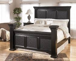 Masculine Tall Bed Frame King Size In Black Feat Rectangle Rug In