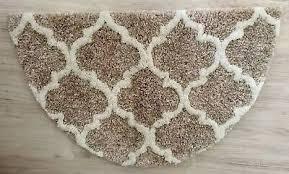huis badteppich badmatte halbrund beige braun neu 50 x 80 cm
