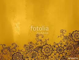 Abstract Gold Background With Hand Drawn Black Flowers And Lace Design Shiny Metallic