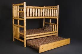 Log Bunk Bed with Trundle