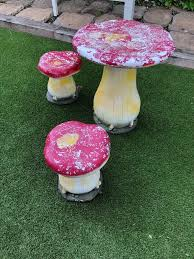 Toadstool Table And Two Stools | In Tonypandy, Rhondda Cynon Taf | Gumtree Red Toadstool Table Masquespacio Designs Adstoolshaped Fniture For Missana Mushroom Kids Stool Uncategorized Chez Moi By Haute Living Propbox Event Props Fniture Hire Dublin How To Make A Bistro Set Garden In Peterborough Swedish Woodland Robins Floral Side Magentarose Toadstools Fairy Garden