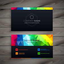 Dark Business Card With Abstract Colors Logos Plantillas