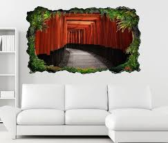 3d wandtattoo tür durchgang eingang rot asiatisch selbstklebend wandbild wandsticker wohnzimmer wand aufkleber 11o1151 wandtattoos und
