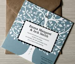 Lovely Blue Rustic Elegant Wedding Invitations Combined With Brown Envelope And Attractive White Tree Decoration