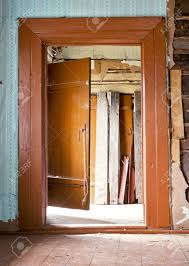 Abandoned Very Old Wooden House Interior Background Stock Photo