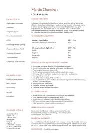 No Work Experience Clerk Resume
