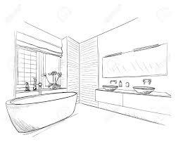 gezeichnet badezimmer mit spiegel waschbecken und andere möbel