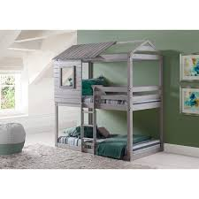 donco kids loft style light grey twin over twin bunk bed free