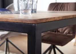 wohnling esstisch 210x100x76 cm goyar sheesham holztisch mit metallbeinen massiver esszimmertisch braun schwarz großer tisch echtholz metall