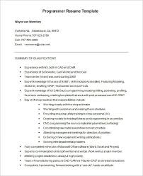Free Cnc Programmer Resume Word Format