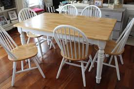 White And Wood Dining Room Table With Six Chairs