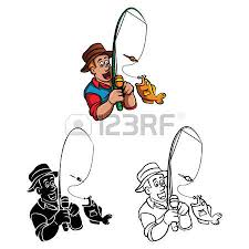 Coloring Book Fisherman Cartoon Character Stock Vector