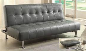 loft pu leather klik klak sofa bed with hidden pull out leg black