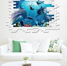 3d dolphin wall mural vinyl decal removable wall sticker art room