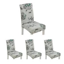 Bumblebaa 4Pcs Modern Printing Stretch Dining Chair Covers Removable  Washable Spandex Slipcovers For High Chairs