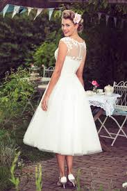 Lace Tulle Cap Sleeves A Line Rustic Tea Length Wedding Dress